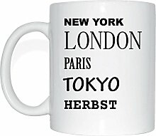 JOllify HERBST Kaffeetasse Tasse Becher Mug M6120 - Farbe: weiss - Design 2: New York, London, Paris, Tokyo