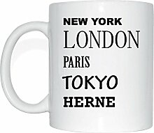 JOllify HERNE Kaffeetasse Tasse Becher Mug M971 - Farbe: weiss - Design 2: New York, London, Paris, Tokyo