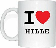 JOllify HILLE Kaffeetasse Tasse Becher Mug M1804 - Farbe: weiss - Design 1: I love - Ich liebe