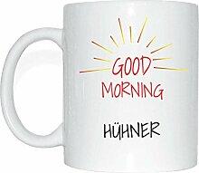JOllify HÜHNER Kaffeetasse Tasse Becher Mug M6111 - Farbe: weiss - Design 7: Good Morning - Guten Morgen