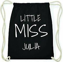 JOllify JULIA Hipster Turnbeutel Tasche Rucksack aus Baumwolle - Farbe: schwarz – Design: Little Miss - Farbe: schwarz