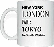 JOllify KURZHAARDACKEL Kaffeetasse Tasse Becher Mug M6364 - Farbe: weiss - Design 2: New York, London, Paris, Tokyo