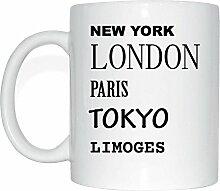 JOllify LIMOGES Kaffeetasse Tasse Becher Mug M3332 - Farbe: weiss - Design 2: New York, London, Paris, Tokyo
