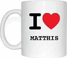 JOllify MATTHIS Kaffeetasse Tasse Becher Mug M5742 - Farbe: weiss - Design 1: I love - Ich liebe