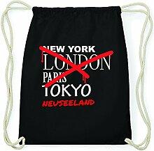 JOllify NEUSEELAND Hipster Turnbeutel Tasche Rucksack aus Baumwolle - Farbe: schwarz – Design: Grafitti - Farbe: schwarz
