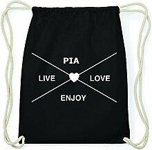 JOllify PIA Hipster Turnbeutel Tasche Rucksack aus Baumwolle - Farbe: schwarz – Design: Hipster Kreuz - Farbe: schwarz