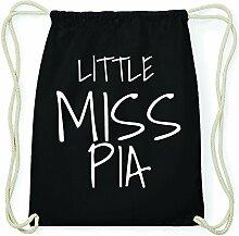 JOllify PIA Hipster Turnbeutel Tasche Rucksack aus Baumwolle - Farbe: schwarz – Design: Little Miss - Farbe: schwarz
