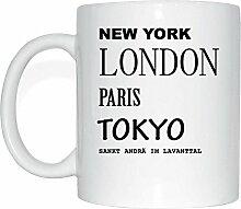JOllify SANKT ANDRÄ IM LAVANTTAL Kaffeetasse Tasse Becher Mug M2785 - Farbe: weiss - Design 2: New York, London, Paris, Tokyo