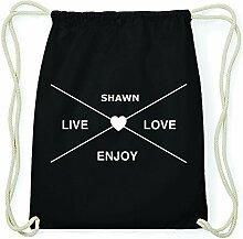 JOllify SHAWN Hipster Turnbeutel Tasche Rucksack aus Baumwolle - Farbe: schwarz – Design: Hipster Kreuz - Farbe: schwarz