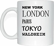 JOllify WALDHEIM Kaffeetasse Tasse Becher Mug M760 - Farbe: weiss - Design 2: New York, London, Paris, Tokyo