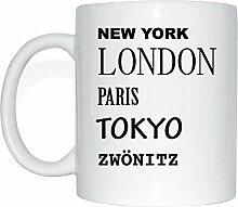 JOllify ZWÖNITZ Kaffeetasse Tasse Becher Mug M2278 - Farbe: weiss - Design 2: New York, London, Paris, Tokyo
