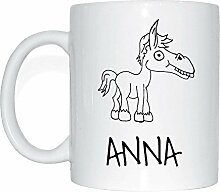 JOllipets ANNA Namen Geschenk Kaffeetasse Tasse Becher Mug PM5142 - Farbe: weiss - Design: Pferd
