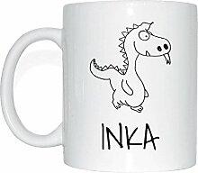 JOllipets INKA Namen Geschenk Kaffeetasse Tasse Becher Mug PM5435 - Farbe: weiss - Design: Drache