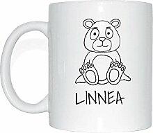 JOllipets LINNEA Namen Geschenk Kaffeetasse Tasse Becher Mug PM5642 - Farbe: weiss - Design: Bär