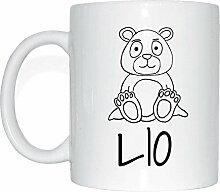 JOllipets LIO Namen Geschenk Kaffeetasse Tasse Becher Mug PM5645 - Farbe: weiss - Design: Bär