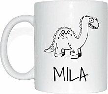 JOllipets MILA Namen Geschenk Kaffeetasse Tasse Becher Mug PM5777 - Farbe: weiss - Design: Dinosaurier Dino