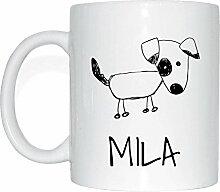 JOllipets MILA Namen Geschenk Kaffeetasse Tasse Becher Mug PM5777 - Farbe: weiss - Design: Hund