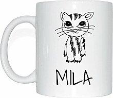 JOllipets MILA Namen Geschenk Kaffeetasse Tasse Becher Mug PM5777 - Farbe: weiss - Design: Katze