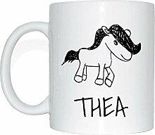 JOllipets THEA Namen Geschenk Kaffeetasse Tasse Becher Mug PM5968 - Farbe: weiss - Design: Pony
