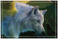 JoneAJ Animal Home Decor White Wolf Badteppiche