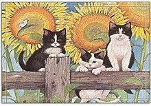 JoneAJ Blumendekoration schöne Katze in Sunflower