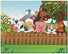 JoneAJ Cartoon Tiere Apfelbaum Mais Zaun Haus Bad