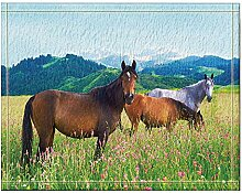 JoneAJ Pferd grasen in den lila Blumen Bad