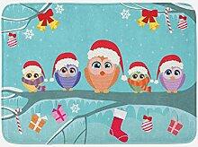 JoneAJ Weihnachten Badematte Eule Familie sitzt