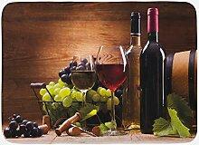 JoneAJ Weinbadematte Gläser Rot- und Weißwein,