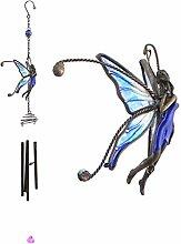 Jones Home and Gift Großes Windspiel mit Feenfigur, aus Zinn und Glas, schöne Gartendekoration