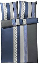 JOOP! Bettwäsche Cornflower Stripes | 2 deep blue - 240 x 220 cm
