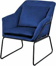 JOSIE Sessel gepolstert Beistellsessel blau Couch