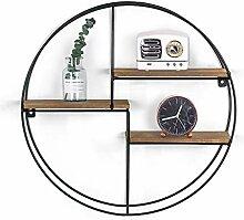 Joveco Wandregal aus Holz, rund, dekorativ, für