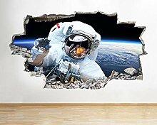 Joyas Wandaufkleber Astronaut Space Moon Earth