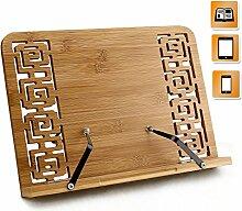Joyoldelf Bambus Kochbuchhalter Leseständer, faltbar Buchstütze Stand mit einstellbarem Rücken & elegantes Muster für Kochbuch, iPad Air 2 3 4, iPad Mini 4, iPad Pro, Kindle, Samsung Tablet PC und mehr