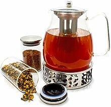 JOYTASTE Teekanne Glas mit Stoevchen Set -