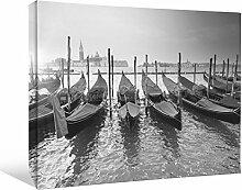 JP London bwcnv23665,1cm Dick Schwergewicht Schwarz & Weiß Galerie Wrap auf Leinwand, Thailand Boat Launch River Tropical Tapeten, 61x 45,7cm