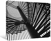 JP London bwcnv23945,1cm Dick Schwergewicht Schwarz & Weiß Galerie Wrap Leinwand Wand Art, Brooklyn Spirale Eisen Arbeit Treppen Tapete, 61x 45,7cm