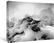 JP London bwcnv25425,1cm Dick Schwergewicht Schwarz & Weiß Galerie Wrap Leinwand Wand Art, Cloud Night Sky Storm Weiß Cloud Tapeten, 61x 45,7cm