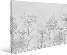 JP London bwmcnv21725,1cm Dick Schwergewicht Schwarz & White Gallery Wrap Leinwand Wilted Daisy Vintage Rustikal Blumen Tapete, 61x 91,4cm