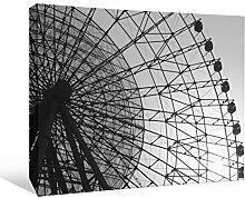 JP London bwmcnv21875,1cm Dick Schwergewicht Schwarz & White Gallery Wrap Leinwand Geometrische Rad Ferris Tapeten Linear Art, 91,4x 61cm