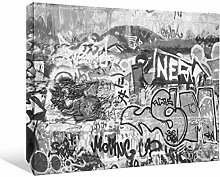 JP London bwmcnv22005,1cm Dick Schwergewicht Schwarz & White Gallery Wrap Leinwand Nero Graffiti Beton Wand obszönität frei Tapeten, 91,4x 61cm