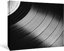 JP London bwmcnv22665,1cm Dick Schwergewicht Schwarz & White Gallery Wrap Leinwand Vinyl Record Player Spin DJ T Tapeten, 91,4x 61cm