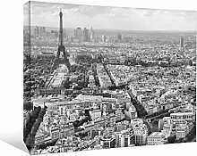 JP London bwmcnv25275,1cm Dick Schwergewicht Schwarz & White Gallery Wrap Leinwand Paris Antenne Eiffelturm Scenic Tapeten, 91,4x 61cm