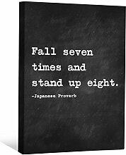 JP London cnvnsp105,1cm Dick Schwere Galerie Wrap Leinwand Motivational Inspiration Sprüche Art von japanischen Sprichwort, 61x 45,7cm schwarz/weiß