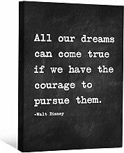 JP London cnvnsp345,1cm Dick Schwere Galerie Wrap Leinwand Motivational Inspiration Sprüche Art von Walt Disney, 61x 45,7cm schwarz/weiß