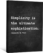 JP London cnvnsp695,1cm Dick Schwere Galerie Wrap Leinwand Motivational Inspiration Sprüche Art von Leonardo da Vinci, 61x 45,7cm schwarz/weiß