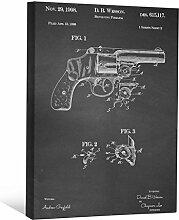 JP London scnvjsc03Smith Revolver Gun Wesson 5,1cm Dick Vintage Kreidetafel Galerie Wrap Leinwand Patent Art, 40,6x 30,5cm schwarz/weiß