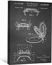 JP London scnvjsc04WC-Papier Badezimmer Art 5,1cm Dick Vintage Kreidetafel Galerie Wrap Leinwand Patent Art, 40,6x 30,5cm schwarz/weiß