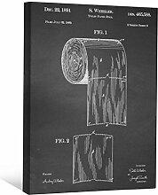 JP London scnvjsc05WC-Papier Badezimmer Art Rolle 5,1cm Dick Vintage Kreidetafel Galerie Wrap Leinwand Patent Art, 40,6x 30,5cm schwarz/weiß